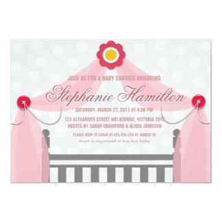 Baby girl crib flower button shower card