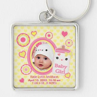 Baby Girl Custom Birth Announcement Keychain