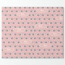 Baby Girl Custom Name Swan Princess Pink Pattern Wrapping Paper