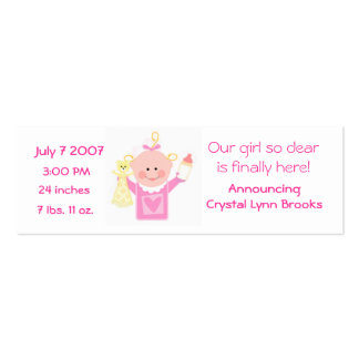 Baby Girl Customized Announcement Card Double-Sided Mini Business Cards (Pack Of 20)