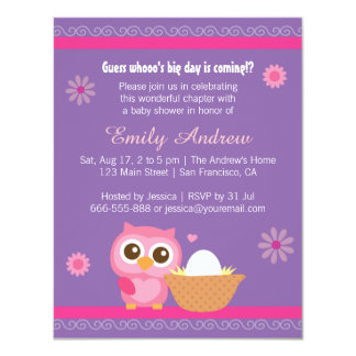 Baby Girl, Cute Owl Baby Shower Card