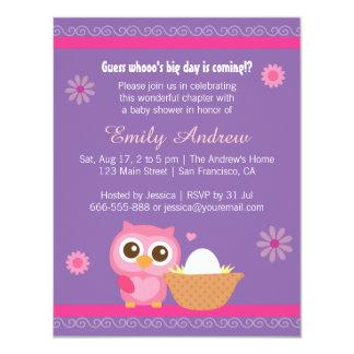 "Baby Girl, Cute Owl Baby Shower 4.25"" X 5.5"" Invitation Card"