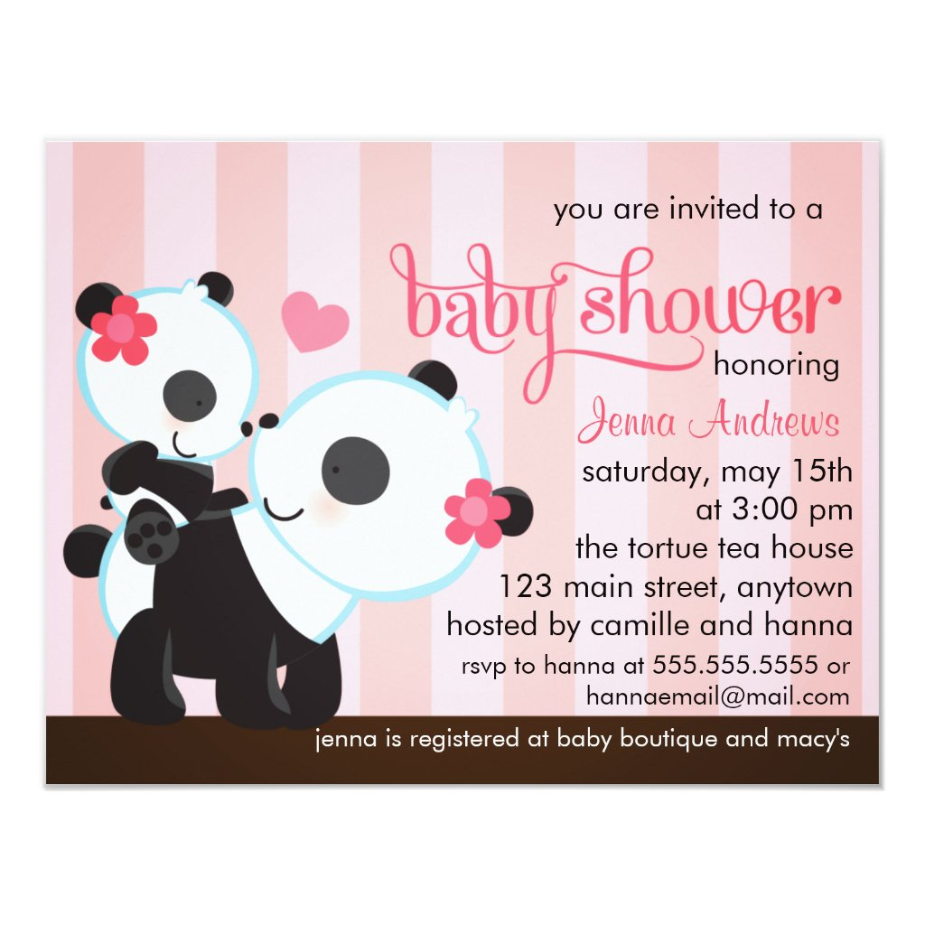 Baby Girl Cute Panda Baby Shower Card