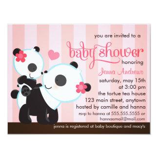 Baby Girl Cute Panda Baby Shower Card