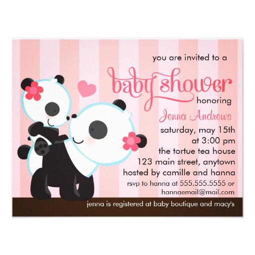 baby girl cute panda baby shower paper invitation card
