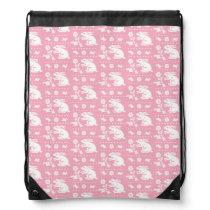 Baby Girl Cute Pink Bunny Rabbits Pattern Drawstring Backpack