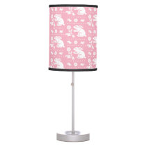 Baby Girl Cute Pink Bunny Rabbits Pattern Table Lamp
