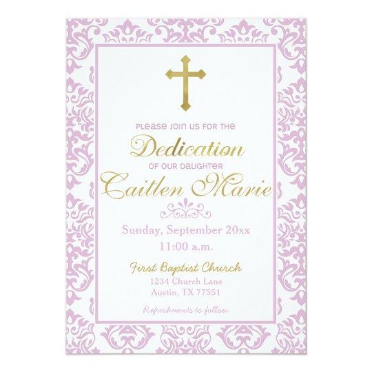 Baby Girl Dedication Invitation Pink and Gold Zazzlecom