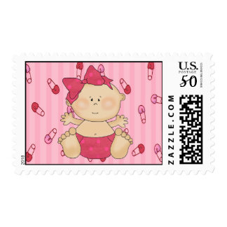 Baby Girl Diaper Pins Postage Stamp