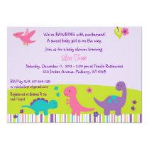 Baby Girl Dinosaur Baby Shower Invitations