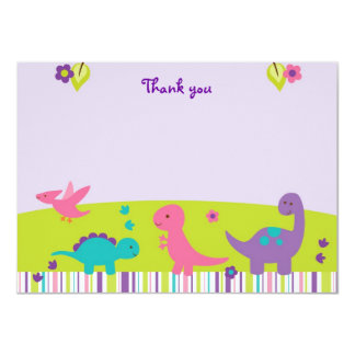 Baby Girl Dinosaur Flat Thank You Note Cards