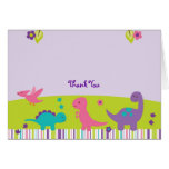 Baby Girl Dinosaur Thank You Note Cards