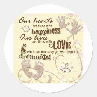 Baby Girl Dreams Classic Round Sticker