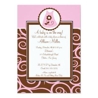 Baby Girl Dress Swirl Baby Shower Invitation