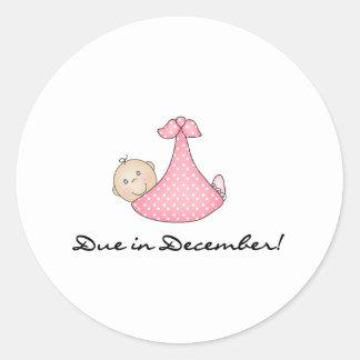 Baby Girl Due in December Classic Round Sticker