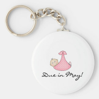 Baby Girl Due in May Key Chains