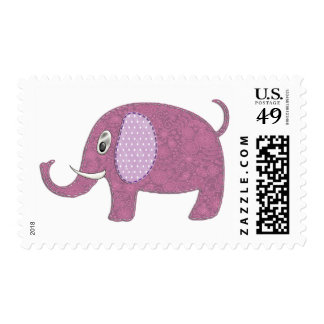 Baby Girl Elephant Applique Postage