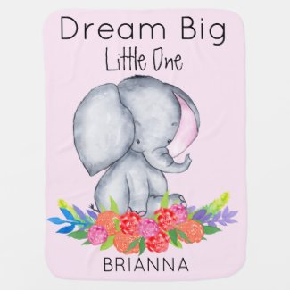 Baby Girl Elephant in Colorful Flowers - Pink Baby Blanket