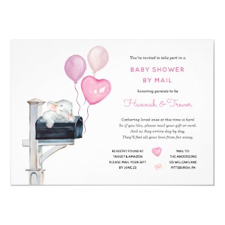 Baby Shower by Mail Invitation Girl Elephant on Mailbox