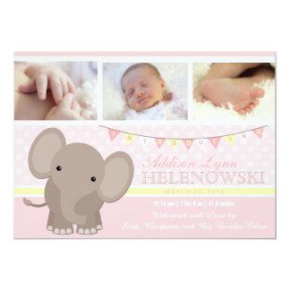 Baby Girl Elephant Photo Birth Announcement