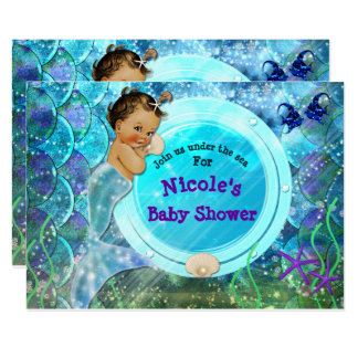 Baby Girl Enchanted Mermaid Baby Shower Party Card