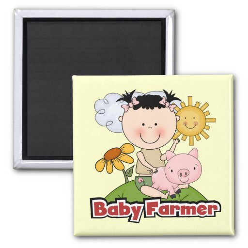 Baby Girl Farmer Wtih Pig T-shirts and Gifts Magnets
