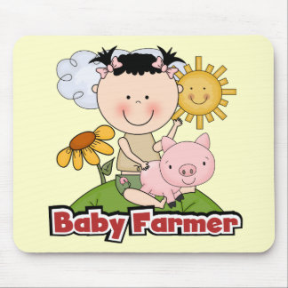 Baby Girl Farmer Wtih Pig T-shirts and Gifts Mouse Pad