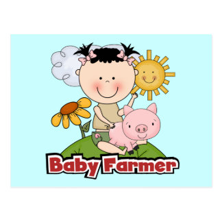 Baby Girl Farmer Wtih Pig T-shirts and Gifts Postcard