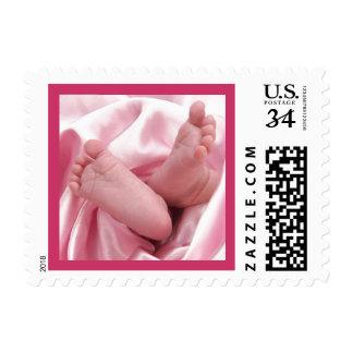 Baby Girl Feet Pink Blanket  U.S. Postcard Stamp