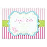 Baby Girl Feet Shower Invitation-Pink Card
