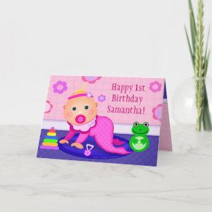 Baby girl first birthday cards zazzle baby girl first birthday greeting card custom m4hsunfo
