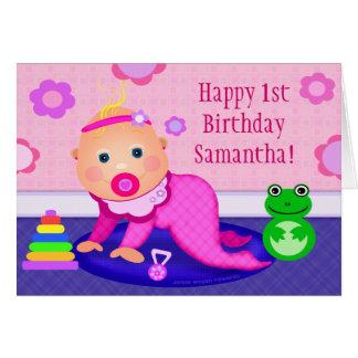 Baby Girl First Birthday Greeting Card - Custom