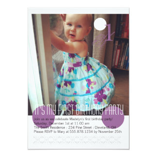 Baby Girl First Birthday Party Invitation