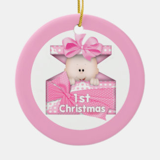 Baby Girl First Christmas Ceramic Ornament