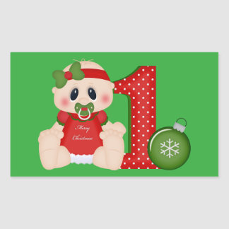 Baby Girl First Christmas Holiday sticker