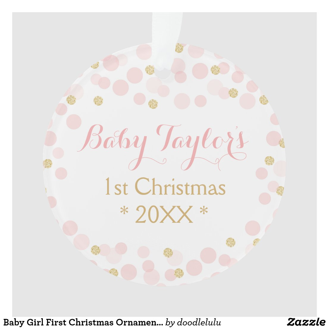 Baby Girl First Christmas Ornament, Pink Gold Dots Ornament