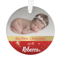 Baby Girl First Christmas Photo Ornament