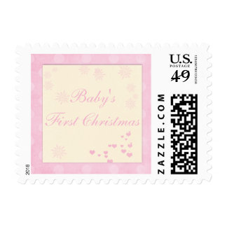 Baby Girl First Christmas Postage Stamp