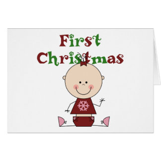 Baby Girl First Christmas T-shirts and Gifts Greeting Card