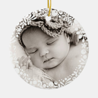 Baby Girl First Christmas White Berry Wreath Pink Ceramic Ornament