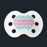 "Baby Girl First Name | Aqua and Pink Baby Pacifier<br><div class=""desc"">Personalize the custom text of this modern and stylish moroccan lattice patterned pacifier design with baby&#39;s first name.  Makes a great baby shower or gift for a new mother!  Colors: bright pink,  turquoise blue,  and white - perfect for a baby girl!</div>"