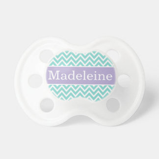 Baby Girl First Name   Aqua and Purple Chevron BooginHead Pacifier