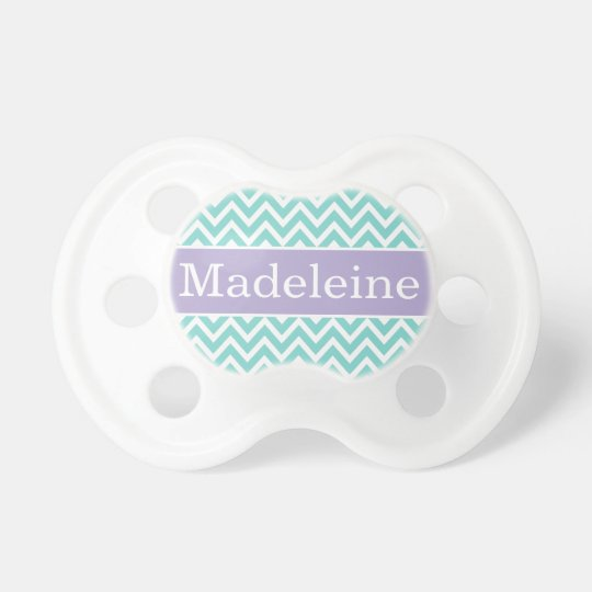 Baby Girl First Name   Aqua and Purple Chevron Pacifier