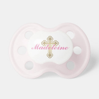 Baby Girl First Name | Gold Cross Pacifier
