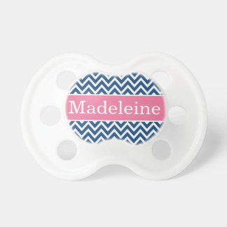 Baby Girl First Name | Pink and Navy Chevron Pacifier