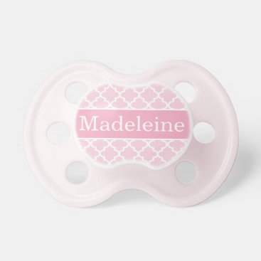 Toddler & Baby themed Baby Girl First Name | Pink Patterned Pacifier