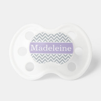 Baby Girl First Name | Purple and Gray Chevron Pacifier