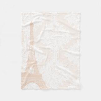 Baby Girl Floral Coral Pale Peach Eiffel Tower Fleece Blanket