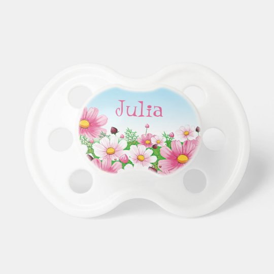 8091fbdbe Baby Girl Floral Flower Garden Pink Yellow Blue Pacifier