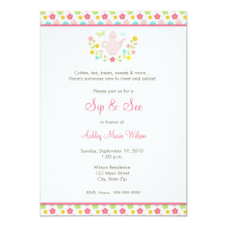 """Baby Girl Floral Sip and See Invitation 5"""" X 7"""" Invitation Card"""